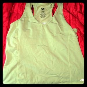 Sage green athletic tank with built in bra
